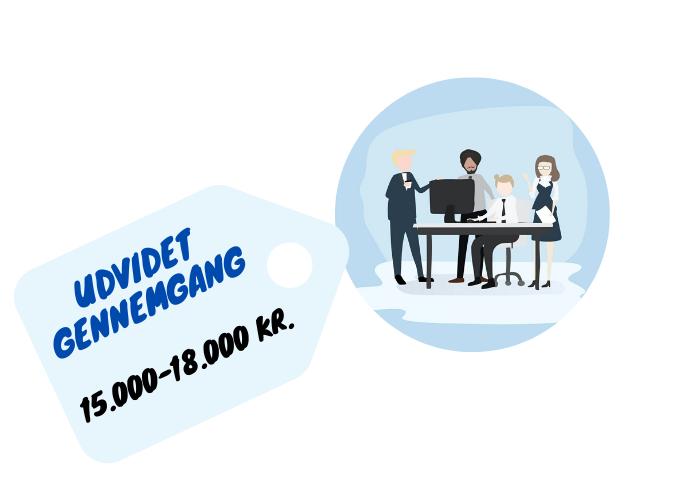 billede af prisskilt over udvidet gennemgang, der er mellem 15,000 og 18,000 DKK for mindre virksomheder.