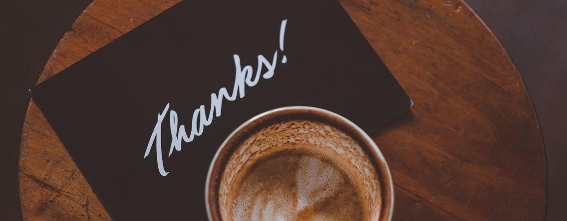 "Koffie en ""Thanks!""-kaartje"