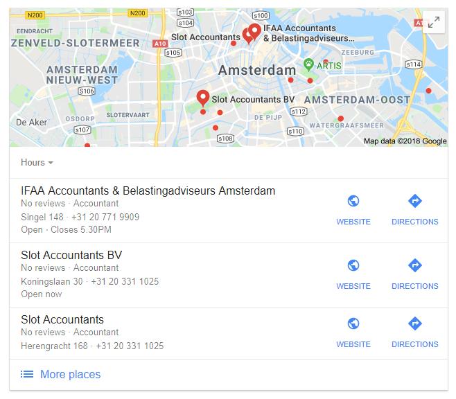 Google Mijn Bedrijf accountantskantoren Amsterdam