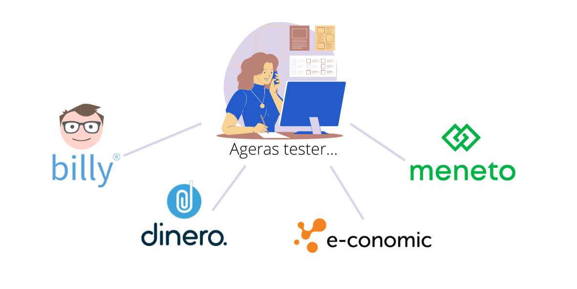 Ageras tester regnskabsprogram, som er Billy, Dinero, Economic og Meneto.