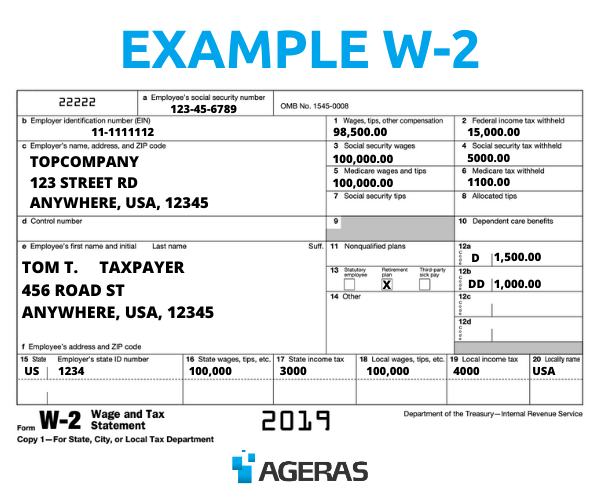 An example of a completed W-2 form