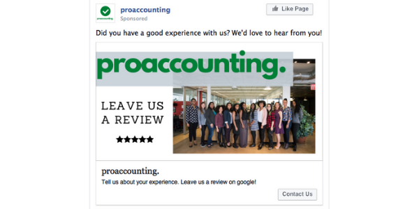 Example ad for getting accounting firm reviews