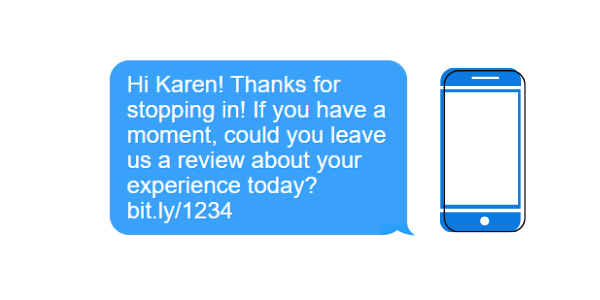 Sample text message for reviews