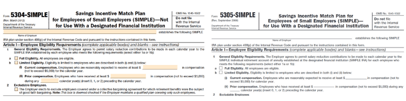 Example of SIMPLE IRA forms 5304-SIMPLE and 5305-SIMPLE