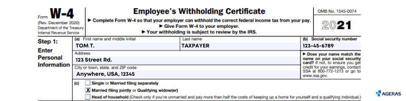 Form W4 Section 1, Example Filled out