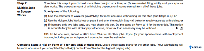 Form W4 Section 2, Example Filled out